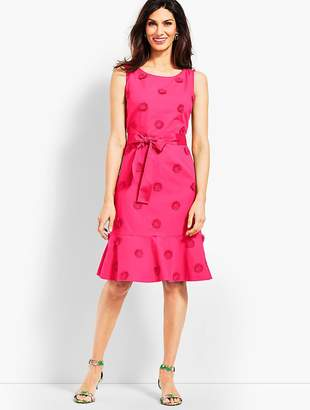 Talbots Flower Applique Fit-and-Flare Dress