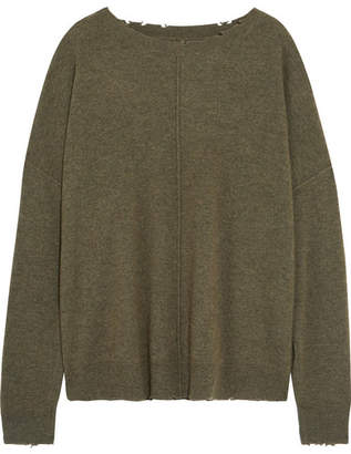 Current/Elliott - The Destroyed Wool And Cashmere Sweater - Green $300 thestylecure.com