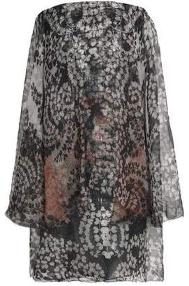 Lanvin Strapless Printed Silk-Chiffon Mini Dress
