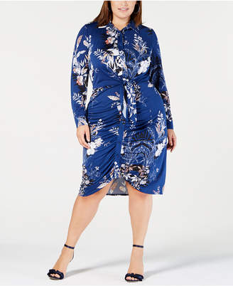 NY Collection Plus Size Ruched Shirtdress
