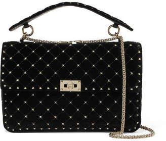 Valentino Garavani The Rockstud Spike Medium Quilted Velvet Shoulder Bag - Black