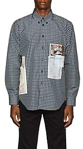 Martine Rose Men's Flyer-Appliquéd Cotton-Blend Button-Down Shirt - Green