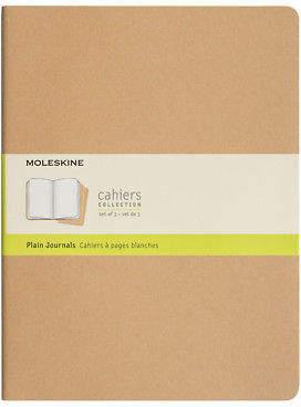 Moleskine NEW Cahier Extra Large Plain Journal Set 3pce Kraft