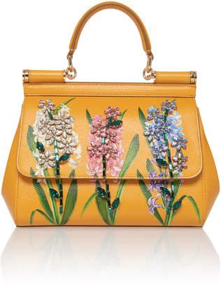 Dolce & Gabbana Dauphine Floral-Print Leather Shoulder Bag