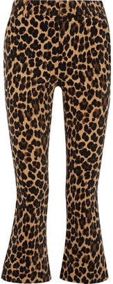 Frame Cropped Leopard-print Cotton-blend Velvet Flared Pants - Leopard print