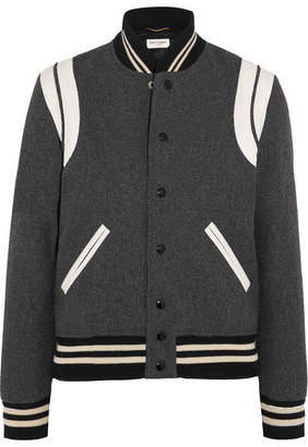 Teddy Leather-trimmed Wool-blend Bomber Jacket - Gray
