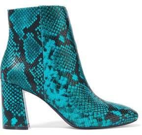 Alice + Olivia Dobrey Snake-effect Leather Ankle Boots