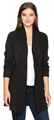 Napa Valley Women's Cashmerlon Long Sleeves Cable Trim Duster Cardigan Sweater