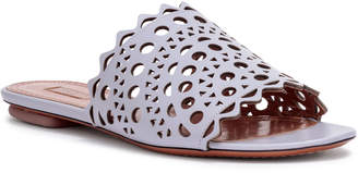 Alaia Grey leather laser-cut slide sandals
