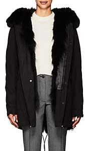 Mr & Mrs Italy Women's Fur-Trimmed & -Lined Cotton Midi-Parka - Black
