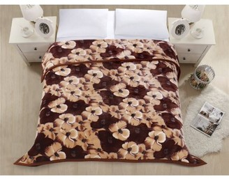 HIG Premium Heavy Blanket Brown and Tan Flowers with Double Layers Reversible Plush Raschel Blanket Reactive Print - Supersoft, Warm, Silky, Hypoallergenic, Fade resistant in Queen Size