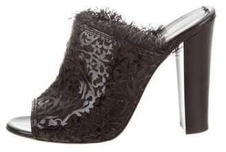 Oscar de la Renta Laser-Cut Patent Leather Sandals