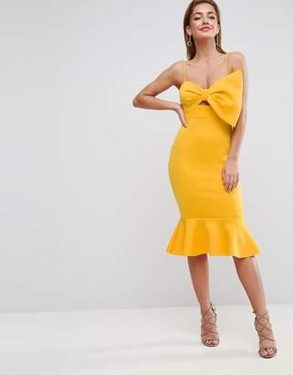 ASOS Scuba Bow Front Pephem Midi Dress $76 thestylecure.com