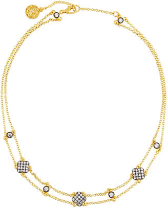 Freida Rothman Double-Row Pave Crystal Clover Station Choker Necklace