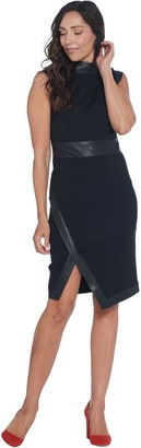 Lisa Rinna Collection Ponte Dress with Faux Leather Trim