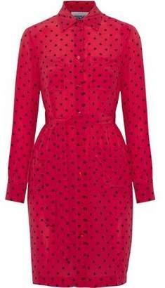 Moschino Polka-Dot Silk Crepe De Chine Mini Shirt Dress