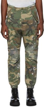 R 13 Khaki Camo Paint Cargo Pants