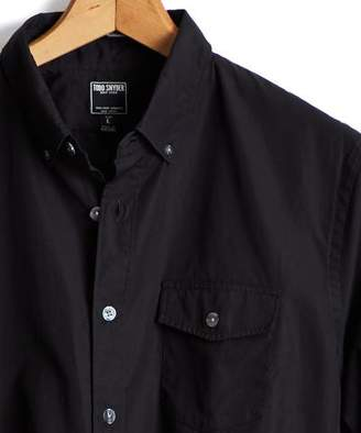 Todd Snyder Button Down Shirt With Flap Pocket in Black