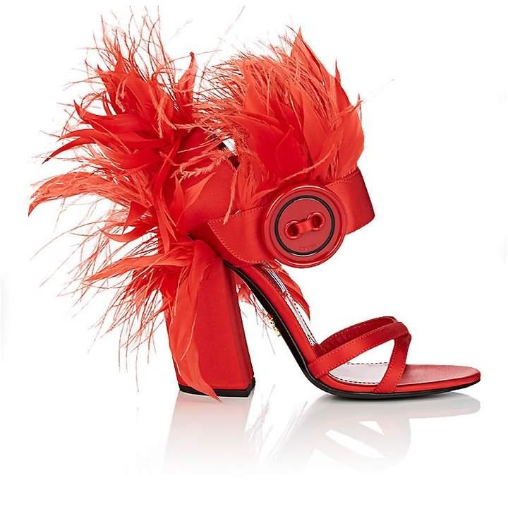 Prada Women's Feather-Embellished Satin Sandals