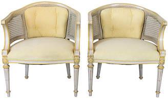 One Kings Lane Vintage Caned Barrel-Back Chairs - Set of 2 - I Dream in Vintage