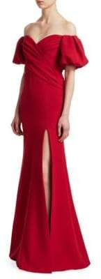 Rachel Gilbert Amalia Off-The-Shoulder Heavy Crepe A-Line Gown