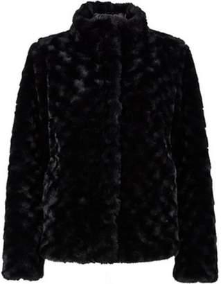 Dorothy Perkins Womens Black Swirl Faux Fur Coat
