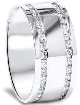 Pompeii3 2ct Double Row Mens 10mm Eternity Ring 14K White Gold Comfort Fit High Polished