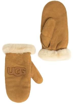 UGG Genuine Sheepskin & Suede Logo Mittens