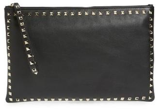 Valentino Small Rockstud Vitello Leather Clutch - Black $1,495 thestylecure.com