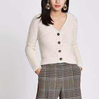 River Island Beige knit long sleeve cropped cardigan