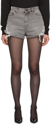 Saint Laurent Grey Denim Used Look Baggy Shorts