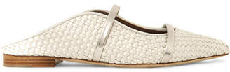 Malone Souliers Maureen Metallic Leather-trimmed Woven Satin Point-toe Flats - Beige