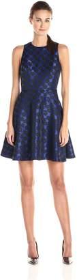 Cynthia Steffe Cece By CeCe by Women's Selena Sleeveless Leopard Jacquard Dress