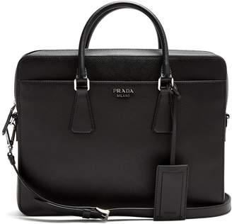 Prada Zip-around saffiano-leather briefcase
