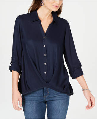 Style&Co. Style & Co Twist-Front Roll-Tab Shirt