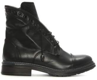 Daniel Goodness Black Leather Diamante Detail Biker Boot