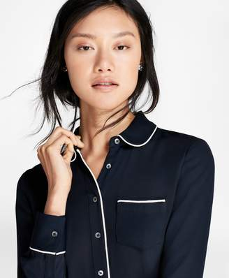 Brooks Brothers Contrast-Piped Crepe Blouse