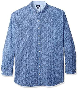 Cutter & Buck Men's Non-Iron Jameson Seersucker Print Long Sleeve Collared Shirt
