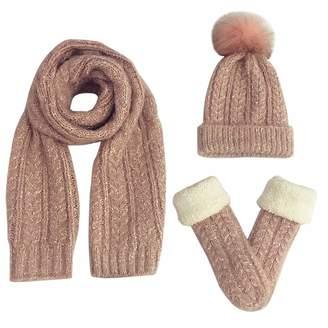 551e79f095a FEOYA Simplicity Fashion Warm Winter Women Girl Comfortable 3 Piece Plush  Knitted Set Hat + Long