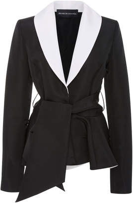 Brandon Maxwell Two-Tone Belted Crepe Tuxedo Jacket