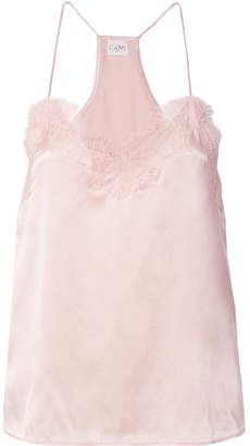 CAMI NYC Racer Lace-trimmed Silk-charmeuse Camisole - Pastel pink