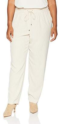 Calvin Klein Women's Plus Size Striped Soft Suiting Drawstring Pant