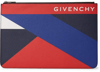 Givenchy Colour-Block Pebble-Grain Leather Pouch - Multi