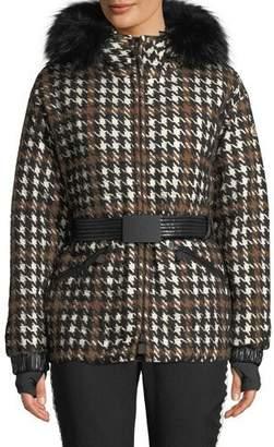 Moncler Gardena Houndstooth Coat w/ Fur