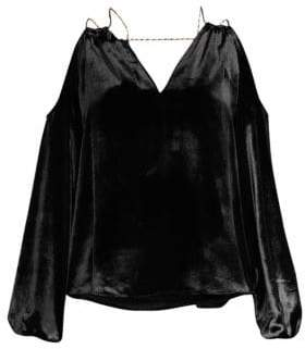 Ramy Brook Velvet Cold-Shouldered Top