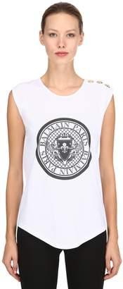 Balmain Logo Crest Jersey Sleeveless T-Shirt