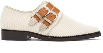 Toga Corduroy Double Buckle Loafers - Womens - Cream