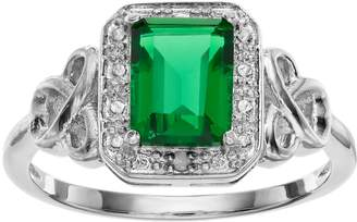 Radiant Gem RADIANT GEM Sterling Silver Simulated Emerald Halo Ring