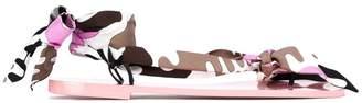 Emilio Pucci textile wrap sandals