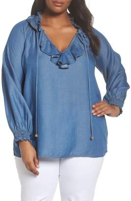 MICHAEL Michael Kors Ruffle Chambray Peasant Top